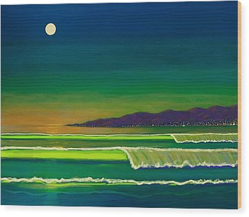 Moonlight Over Venice Beach Wood Print