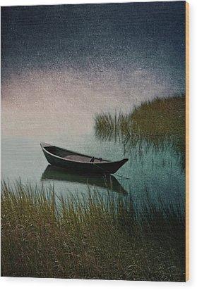 Moonlight Paddle Wood Print