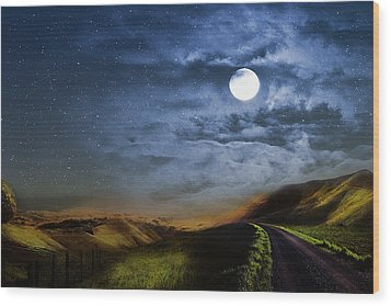 Moonlight Path Wood Print by Swank Photography
