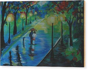 Moonlight Stroll Wood Print by Leslie Allen