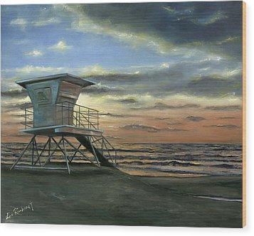 Moonlight Sunset Wood Print