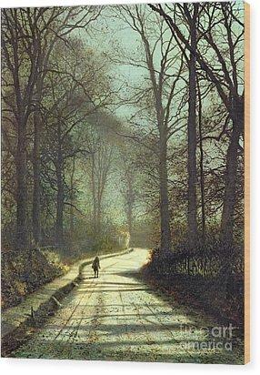 Moonlight Walk Wood Print by John Atkinson Grimshaw