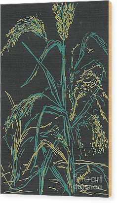 Wood Print featuring the mixed media Moonlight Wheat by Vicki  Housel