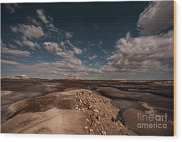 Wood Print featuring the photograph Moonlit Badlands by Melany Sarafis