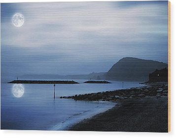 Moonlit Beach  Wood Print by Jaroslaw Grudzinski