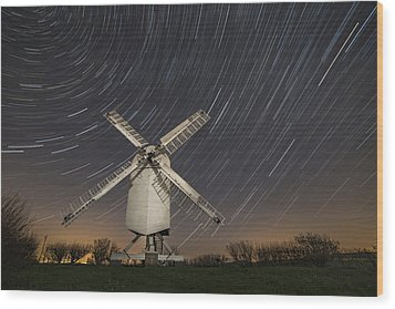 Moonlit Chillenden Windmill Wood Print