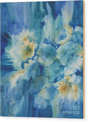 Moonlit Flowers Wood Print