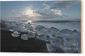 Moonlit Ice Beach Wood Print by Roddy Atkinson