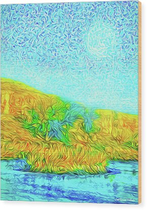 Wood Print featuring the digital art Moonlit Island Blue - Boulder County Colorado by Joel Bruce Wallach