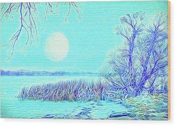 Wood Print featuring the digital art Moonlit Lake In Blue - Boulder County Colorado by Joel Bruce Wallach