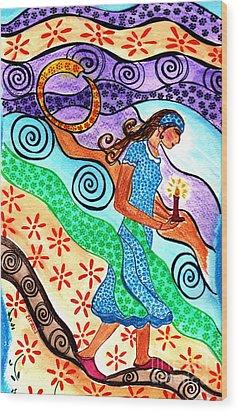 Moonlit Meditation Wood Print by Lisa Cioppettini