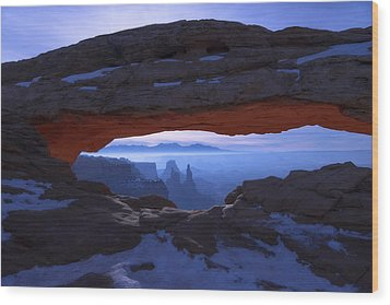 Moonlit Mesa Wood Print