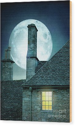 Moonlit Rooftops And Window Light  Wood Print