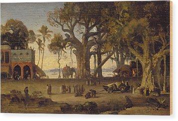 Moonlit Scene Of Indian Figures And Elephants Among Banyan Trees Wood Print by Johann Zoffany