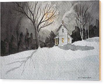 Moonlit Snow Wood Print