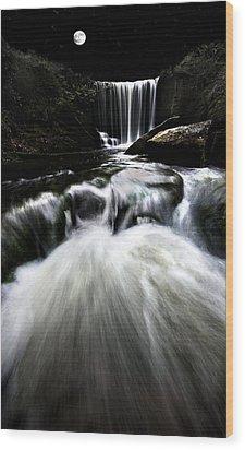 Moonlit Waterfall Wood Print by Meirion Matthias