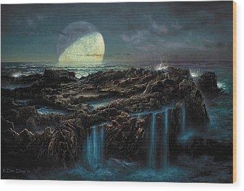 Moonrise 4 Billion Bce Wood Print by Don Dixon
