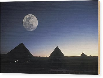 Moonrise Above Giza Pyramids In Egypt Wood Print by Richard Nowitz