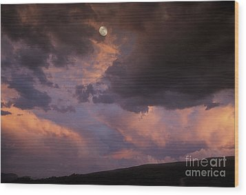 Moonrise And Sunset Wood Print by Sandra Bronstein