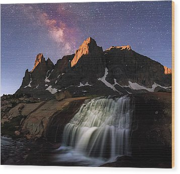 Moonrise At Cirque Of The Towers. Wood Print