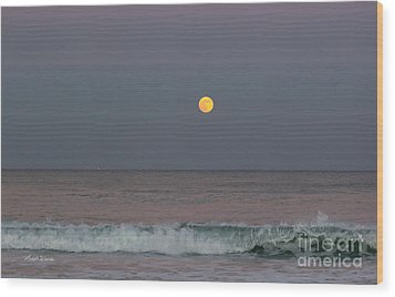 Wood Print featuring the photograph Moonrise At Sunset by Michelle Wiarda
