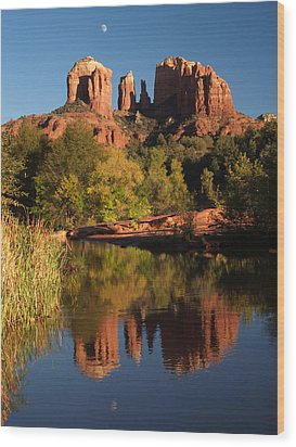 Wood Print featuring the photograph Moonrise Cathedral Rocks by Harold Rau