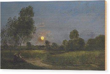 Moonrise Wood Print by Charles Francois Daubigny