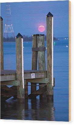 Moonrise Dock Wood Print by Jennifer Casey