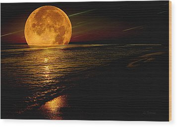 Moonrise Wood Print by James C Thomas