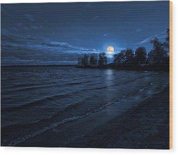 Moonrise On The Beach Wood Print