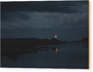 Moonrise Over Blue Hill Bay Wood Print