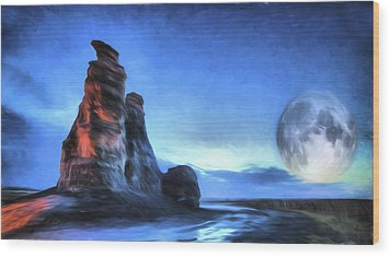 Wood Print featuring the digital art Moonrise Over Castle Rock by JC Findley