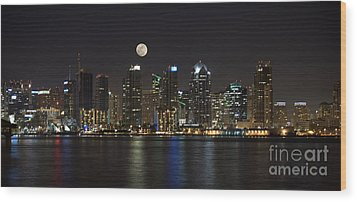 Moonrise Over San Diego Wood Print by Sandra Bronstein