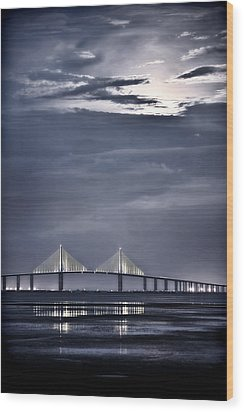 Moonrise Over Sunshine Skyway Bridge Wood Print