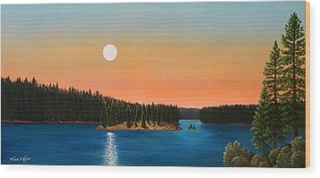Moonrise Over The Lake Wood Print by Frank Wilson