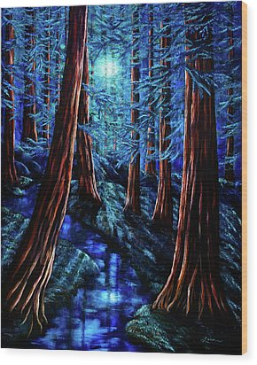 Moonrise Over The Los Altos Redwood Grove Wood Print by Laura Iverson