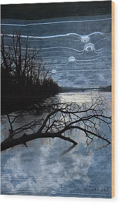 Moons Wood Print by Joan Ladendorf