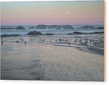Moonset At Seal Rock Wood Print