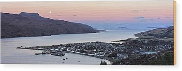 Wood Print featuring the photograph Moonset Sunrise Over Ullapool by Grant Glendinning
