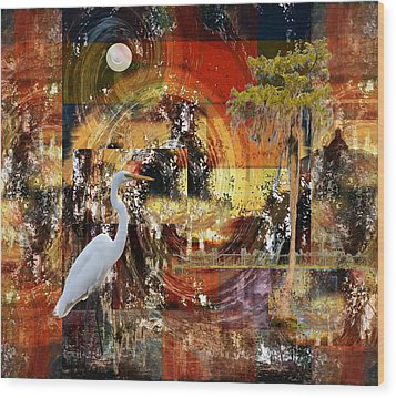 Moonshine Egret On Abstract Wood Print