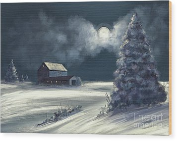 Wood Print featuring the digital art Moonshine On The Snow by Lois Bryan