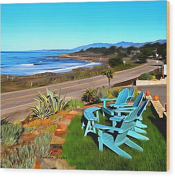 Wood Print featuring the photograph Moonstone Beach Seat With A View Digital Painting by Barbara Snyder