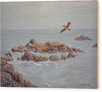 Moonstone Beach Tidepool Wood Print