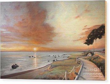 Moonstone Cambria Sunset Wood Print