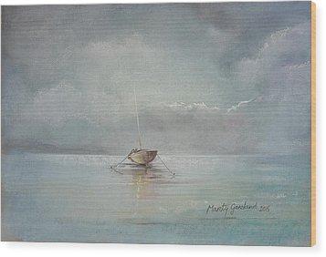 Moored Boat Wood Print