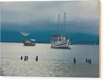 Wood Print featuring the photograph Moored Boats by Kim Wilson