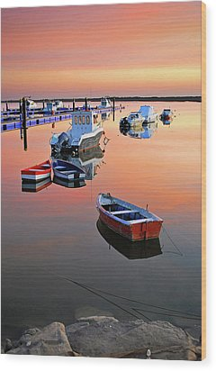 Moored Boats On Sea At Sunset Wood Print by Juampiter