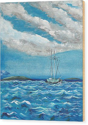 Wood Print featuring the painting Moored In The Bay by J R Seymour