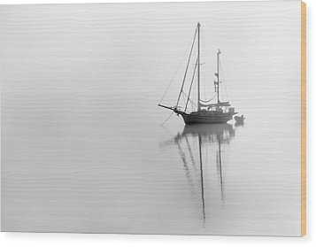 Moored On A Foggy Day Wood Print