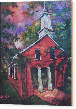 Mooresville Brick Church Wood Print